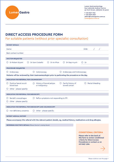 Direct Access Procedure Form