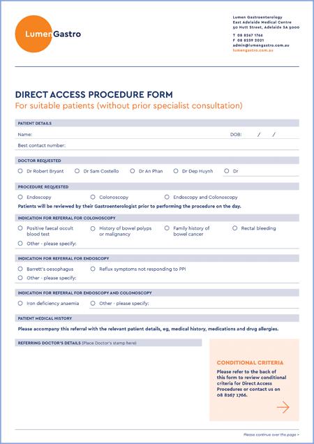 Direct Access Procedure Form